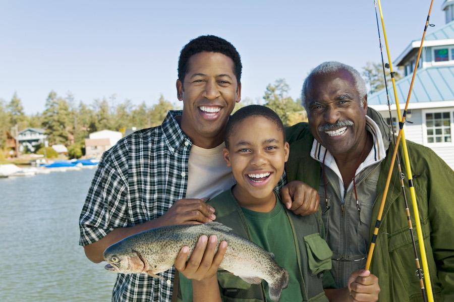 Kid trout fishing upstate